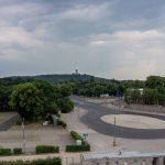 Vor dem Einstieg ins Dach bei der Techniktour im Olympiastadion Berlin